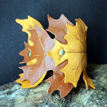Decorations handmade. Livemaster - original item Leather bracelet Maple leaves red. Handmade.