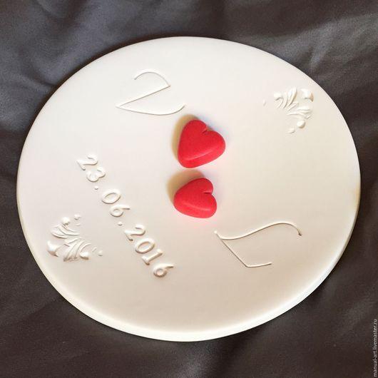 Свадебные аксессуары ручной работы. Ярмарка Мастеров - ручная работа. Купить Тарелочка для колец. Handmade. Ярко-красный, красное сердце