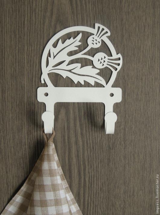 Ванная комната ручной работы. Ярмарка Мастеров - ручная работа. Купить Крючки металлические Чертополох. Handmade. Чёрно-белый, Шотландия