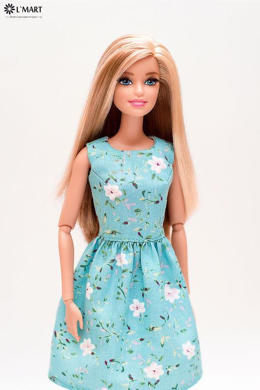 Одежда для кукол ручной работы. Ярмарка Мастеров - ручная работа. Купить Платье Голубое в Цветочек для Барби, Поппи Паркер. Handmade.