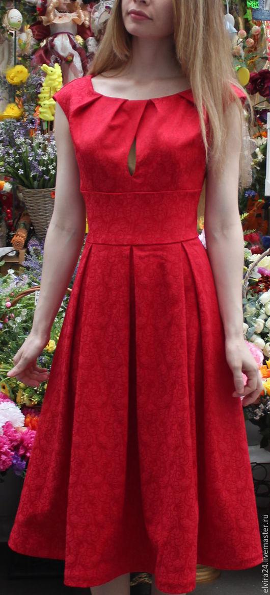 """Платья ручной работы. Ярмарка Мастеров - ручная работа. Купить Платье из жаккарда """"Катерина 2"""". Handmade. Ярко-красный, модное"""