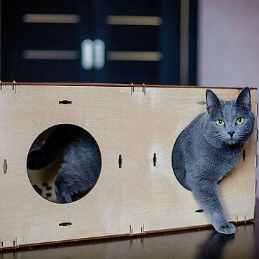 Товары для питомцев ручной работы. Ярмарка Мастеров - ручная работа Домик для кошек длинный блок конструктор. Handmade.