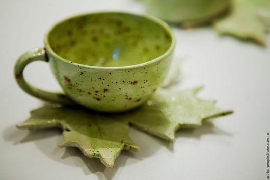 """Сервизы, чайные пары ручной работы. Ярмарка Мастеров - ручная работа. Купить Чайная пара """"Листопад"""". Handmade. Салатовый, эко"""