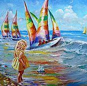 """Картины и панно ручной работы. Ярмарка Мастеров - ручная работа Картина """"Кораблики"""". Handmade."""