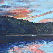 Картины и панно ручной работы. Ярмарка Мастеров - ручная работа вечер (картина маслом,закат, пейзаж). Handmade.