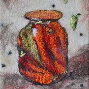 Картины и панно ручной работы. Ярмарка Мастеров - ручная работа Войлок, панно Острый перчик-2. Handmade.