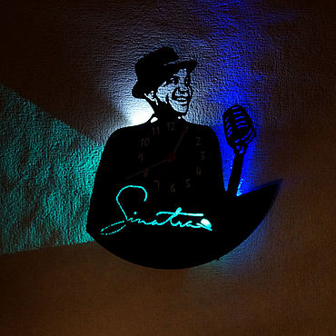 For home and interior handmade. Livemaster - original item Wall clock with led light from the album Sinatra. Handmade.