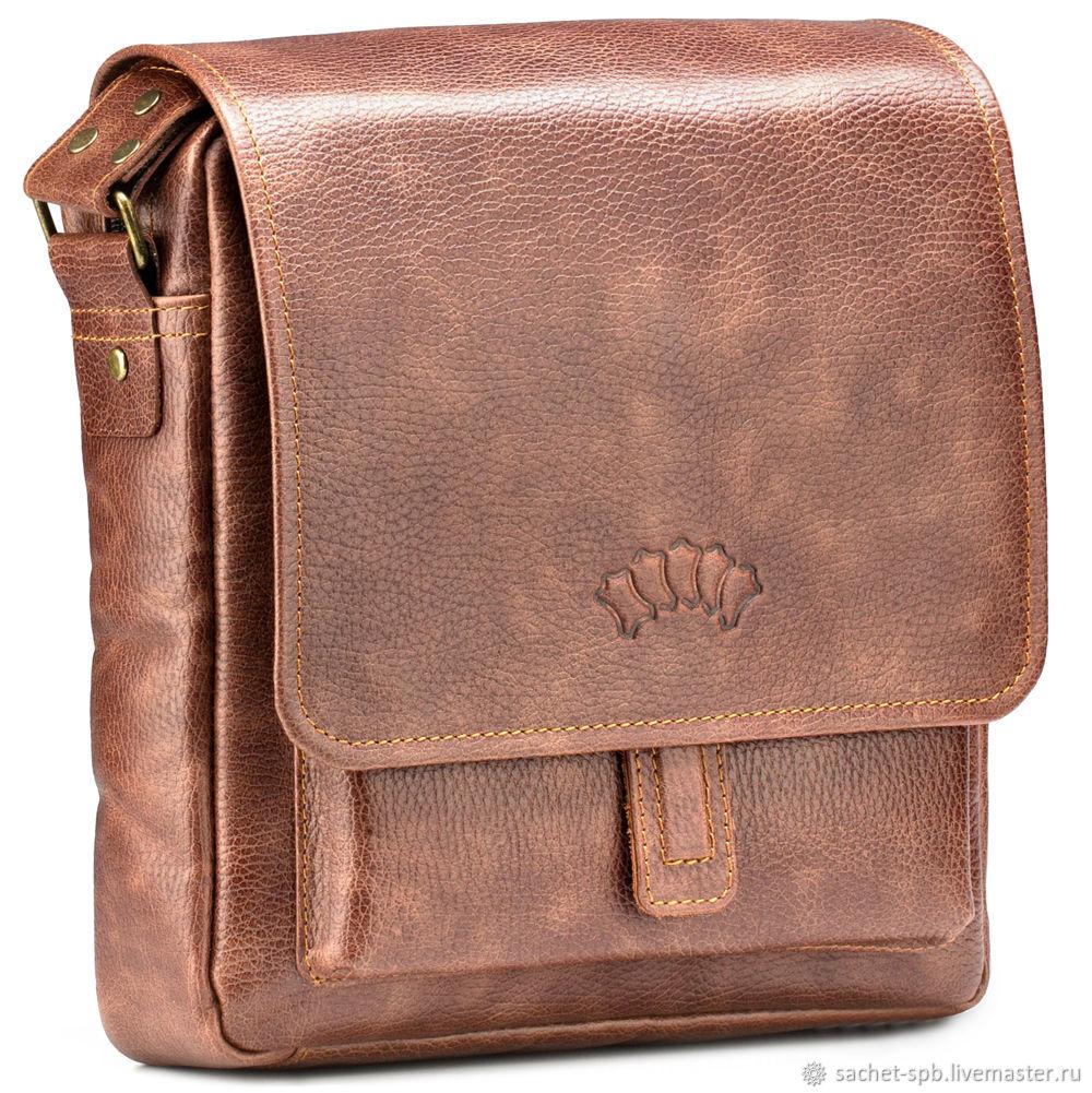 """Кожаная сумка через плечо """"Алекс"""" (светло-коричневая), Сумка через плечо, Санкт-Петербург,  Фото №1"""