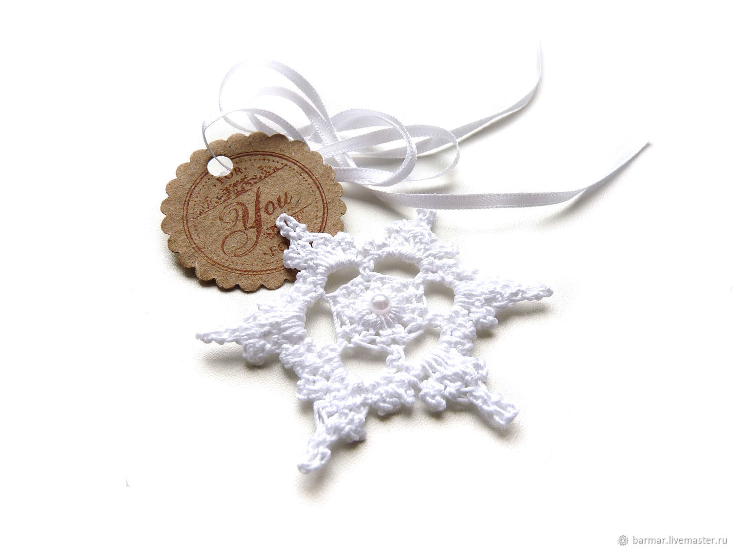 Snowflake 6,5 cm white knitted, Christmas decorations, Moscow,  Фото №1