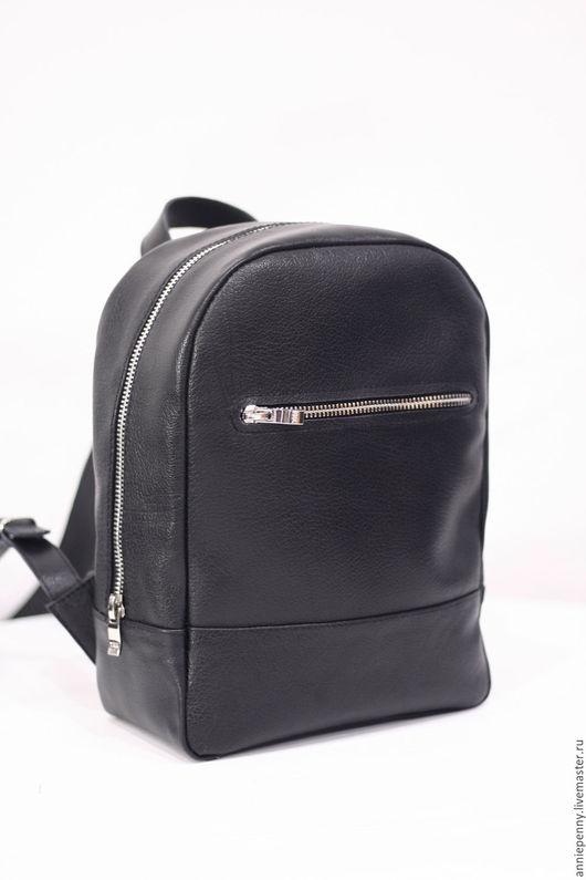 Рюкзаки ручной работы. Ярмарка Мастеров - ручная работа. Купить Кожаный рюкзачок на молнии. Handmade. Черный, небольшой рюкзак