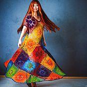 """Одежда ручной работы. Ярмарка Мастеров - ручная работа Платье """"Принцесса Радуга"""" крючком  из шерсти. Handmade."""
