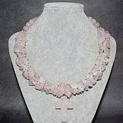 Украшения handmade. Livemaster - original item Delicate Rose Quartz Natural Necklace with Pendant. Handmade.