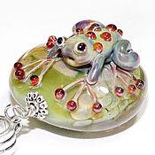 Украшения handmade. Livemaster - original item Rainbow - lampwork pendant on a cord. Handmade.
