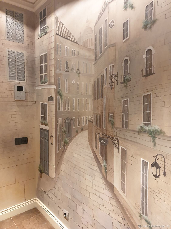Роспись в коридоре Улица в перспективе, Декор, Москва,  Фото №1