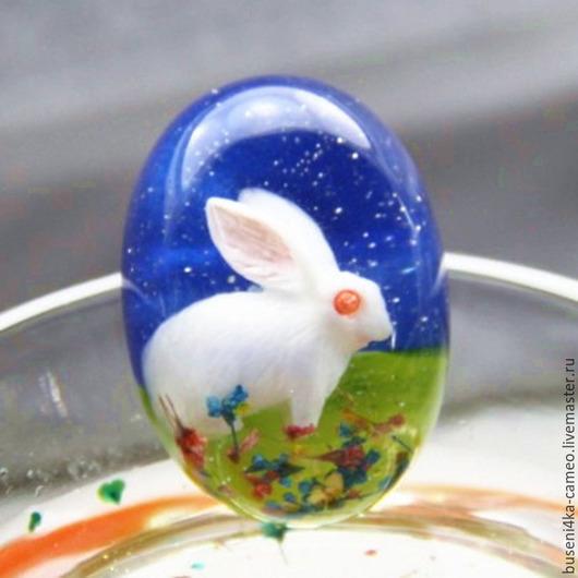 Для украшений ручной работы. Ярмарка Мастеров - ручная работа. Купить Кабошон Белый кролик, 18х25мм (1шт). Handmade. Кабошон