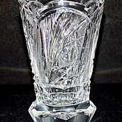 Винтаж handmade. Livemaster - original item Crystal interior vase for flowers, hand-cut, Czechoslovakia. Handmade.