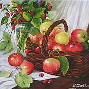 Картины и панно ручной работы. Ярмарка Мастеров - ручная работа Картина маслом . Яблоки в корзинке. Handmade.