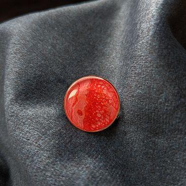 """Украшения ручной работы. Ярмарка Мастеров - ручная работа Брошь """"Красная половинка"""", огонь, флюид арт. Handmade."""