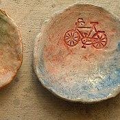 Посуда ручной работы. Ярмарка Мастеров - ручная работа тарелочки с велосипедами. Handmade.