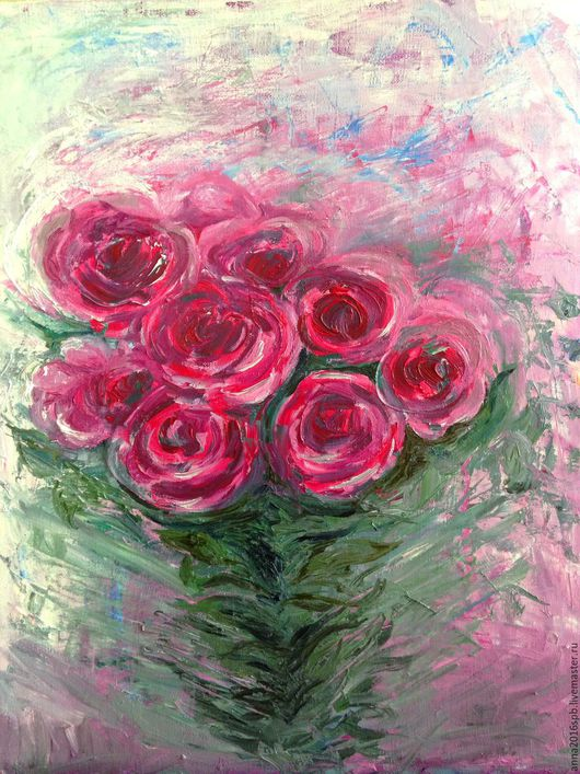 Картины цветов ручной работы. Ярмарка Мастеров - ручная работа. Купить Розы. Handmade. Розовый, розы картина, живопись цветы