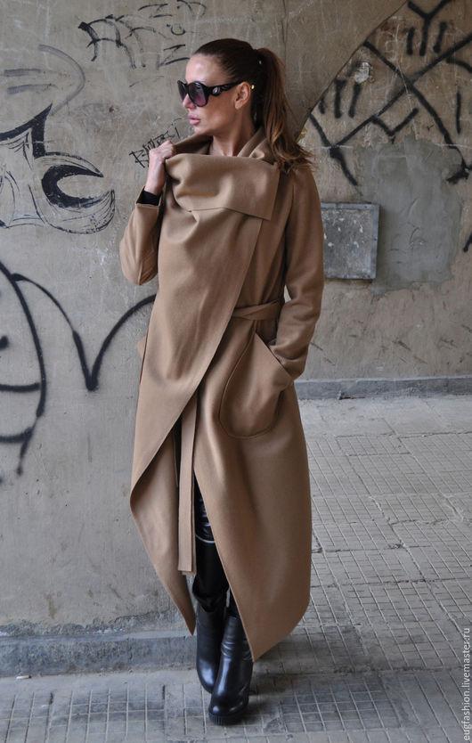 Пальто из кашемира. Пальто с карманами. Пальто с поясом. Модное пальто купить. EUG. Демисезонное пальто. Бежевое пальто.