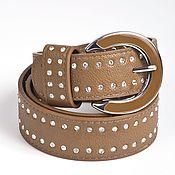 Винтаж handmade. Livemaster - original item Light brown genuine leather belt, decor.rhinestones. Handmade.
