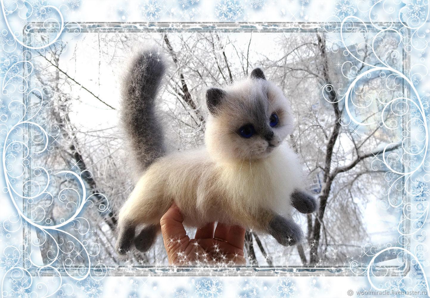 Котенок из шерсти, Войлочная игрушка, Москва,  Фото №1