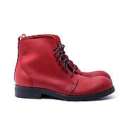 Обувь ручной работы. Ярмарка Мастеров - ручная работа Ботинки ручного шва SeamShoes красные. Handmade.