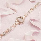 Аксессуары ручной работы. Ярмарка Мастеров - ручная работа Пояс для свадебного платья, розовый пояс с вышивкой, бархатный пояс. Handmade.
