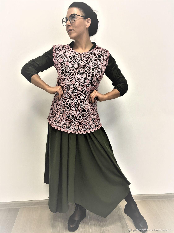 Ирландское кружево.Блуза из хлопка вязанная крючком.Green with Pink, Блузки, Москва, Фото №1