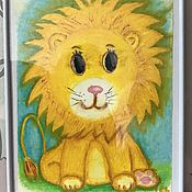 Картины и панно handmade. Livemaster - original item Painting for children in oil pastel with a lion cub