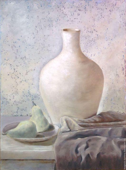 Натюрморт ручной работы. Ярмарка Мастеров - ручная работа. Купить Картина маслом Белая ваза на белом столе. Handmade. Белый