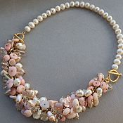 Украшения handmade. Livemaster - original item Necklace Bracelet PASTEL pink opal, pearls.... Handmade.