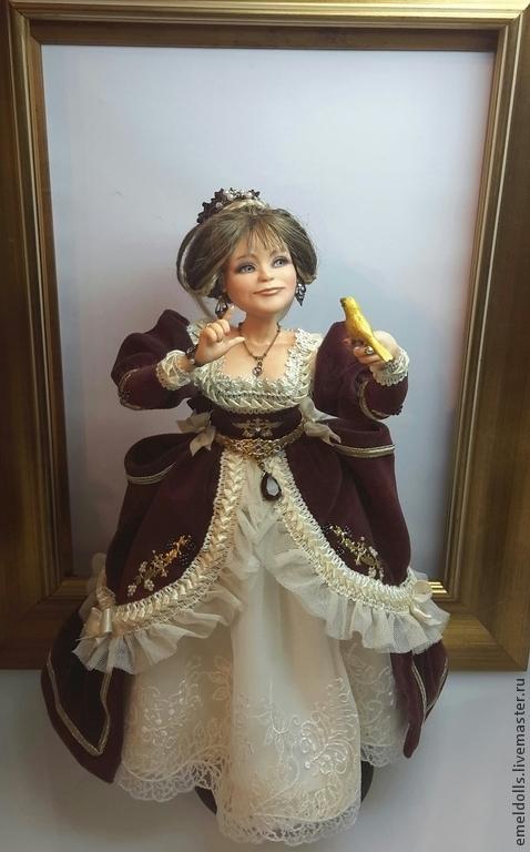 Портретные куклы ручной работы. Ярмарка Мастеров - ручная работа. Купить Дама с канарейкой. Handmade. Бордовый, авторская ручная работа