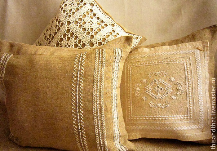 Set of linen covers/pillow covers for cushions, Pillow, Tolyatti,  Фото №1