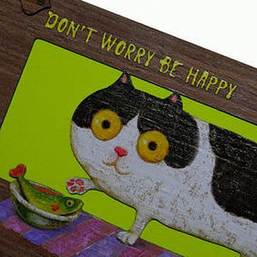 """Открытки ручной работы. Ярмарка Мастеров - ручная работа Открытка """"Don`t worry, be happy"""" с котиком и рыбкой. Handmade."""