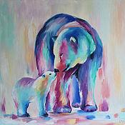 Картины и панно handmade. Livemaster - original item Oil painting I love you so much, polar bears 60/70 cm. Handmade.