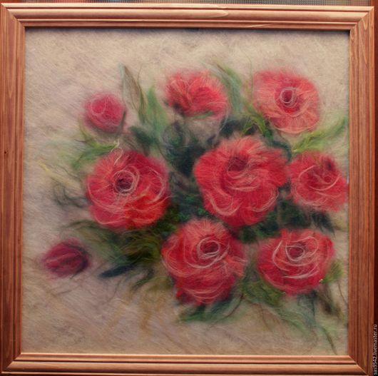 """Картины цветов ручной работы. Ярмарка Мастеров - ручная работа. Купить Картина из шерсти """"Розы"""". Handmade. Розовый, подарок, мягкий"""