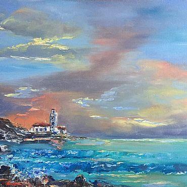Картины и панно ручной работы. Ярмарка Мастеров - ручная работа Картина маслом.Тёплый закат. Морской пейзаж. Handmade.