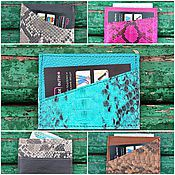 Сумки и аксессуары handmade. Livemaster - original item Holder-card Holder for plastic cards and business cards pocket Python skin. Handmade.