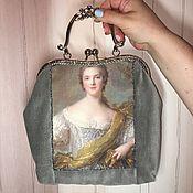 "Бархатная сумка ""Незнакомка"", серая, вечерняя сумочка"