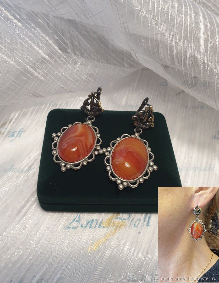 Ogonek earrings with natural red agate, Jewelry Sets, St. Petersburg,  Фото №1