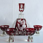 Винтаж handmade. Livemaster - original item ANTIQUE BOHEMIAN glass liquor SET 1930s EGERMANN EGERMANN. Handmade.
