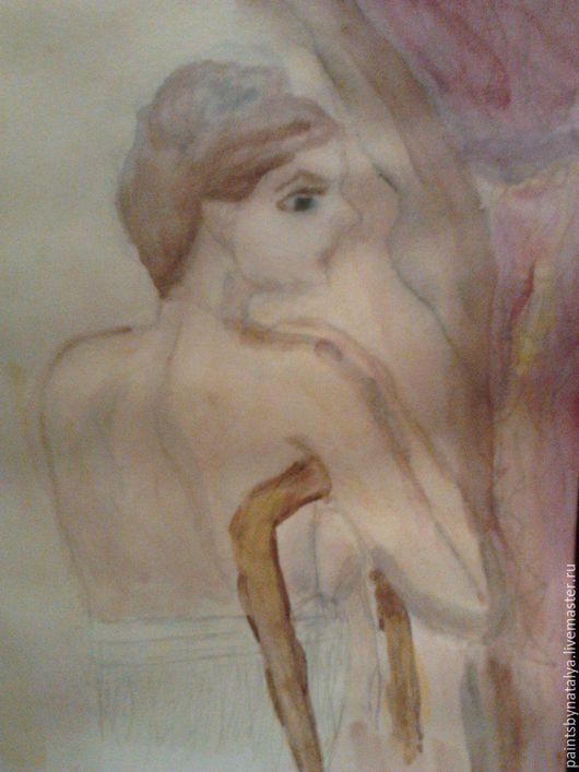 Акварелью на писано образ ню .Обнаженная девушка на стуле .в нежных акварльных тонах.Ню ппотрет не с натуры а придуман мной .Мечтательная акварельная девушка .