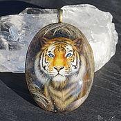 """Украшения handmade. Livemaster - original item Painted pendant """" Tiger. Star Keeper"""" lacquer miniature on stone cat. Handmade."""