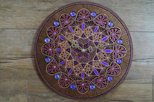 Часы для дома ручной работы. Ярмарка Мастеров - ручная работа. Купить Часы настенные Подарок (Часы  точечная роспись)Аликанте. Handmade.