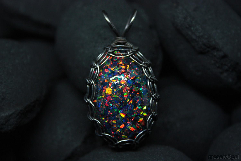 Dragon Egg. Pendant with lab opal. Black opals in glass, Pendants, Kamensk-Uralsky,  Фото №1
