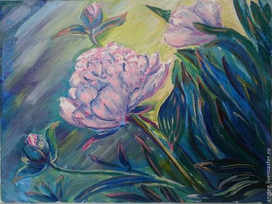 `Утренний пион` - авторская картина маслом на холсте. Холст на подрамнике, масло, объемная техника. Купить картину цветов. Автор - Геля Глаголева.