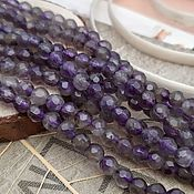 Материалы для творчества handmade. Livemaster - original item Natural amethyst faceted beads 4 mm (art. 1080). Handmade.