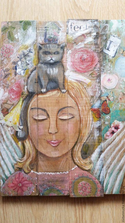 """Люди, ручной работы. Ярмарка Мастеров - ручная работа. Купить Панно/картина """"Ангел и кот"""". Handmade. Комбинированный, из дерева, для детской, для гостиной"""